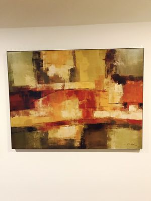 Layered Abstract art, 40x29, many rich colors, super deal!
