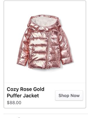 Cozy rose gold puffer jacket 4t brand new w tag