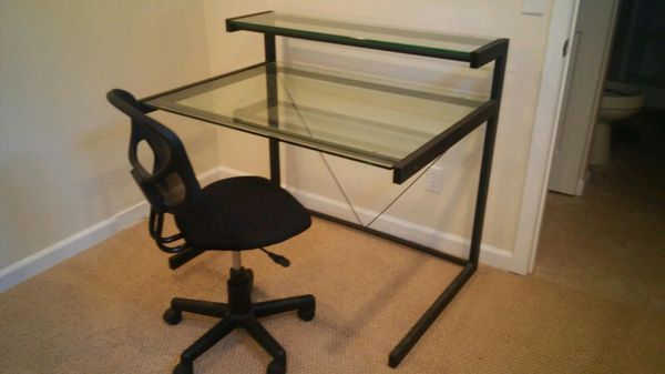 Modern glass two tiered desk furniture in renton wa for Two tier desk ikea