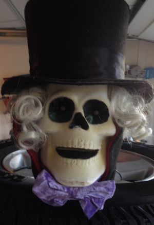 Light-up Skeleton Head with Top-Hat