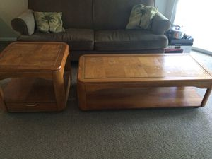 Wooden Coffee Table and End Table Set
