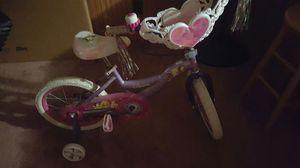 Girls Princess Bike with training wheels can be taken off, kept indoors