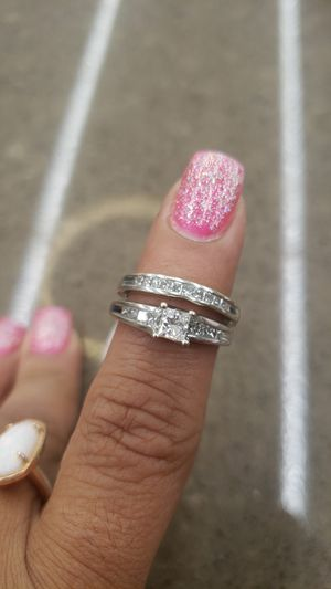 14K WHITE GOLD 2 PIECE WEDDING SET WITH PRINCESS CUT DIAMONDS