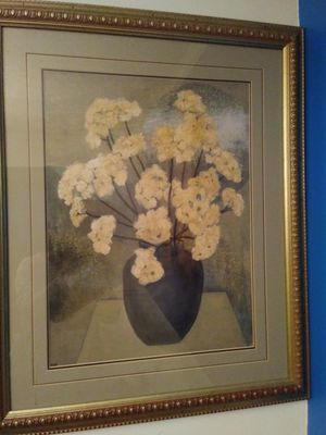 Large Ivory Flowers Wall Pic