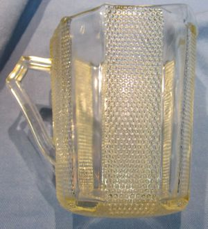 Dimpled Glass Creamer, Jeanette Glass Company, Dew Drop Pattern