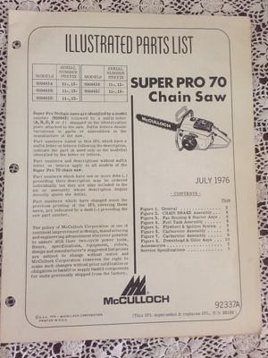 McCulloch chainsaw Super Pro 70 pamphlet
