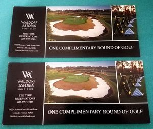 2 CERTIFICATES FOR 2 ROUNDS OF GOLF $120