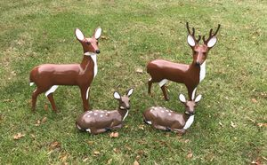Refurbished Blow Mold Lawn Deer Family