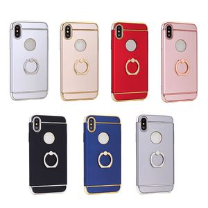 3 in 1 stage phone case with finger ring for iphone X Cover case