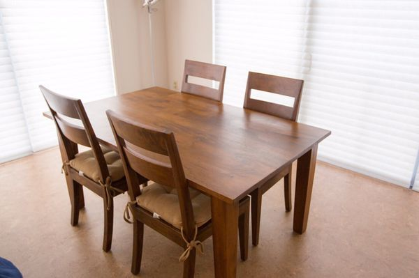 Crate Barrel Basque Honey 65 Dining Table And 4 Chairs Furniture In Seattle WA