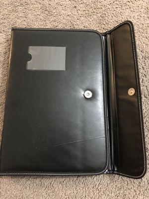 Black leather folio case