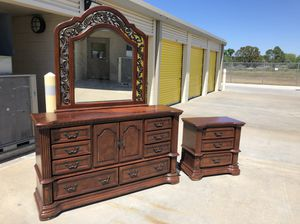 Solid wood dresser with mirror and nightstand