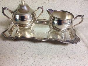 Sugar, Creamer and Tray. Vintage Silverplate