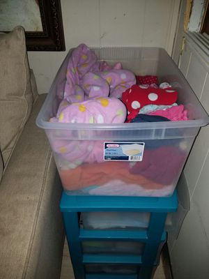 Bin of girls clothes 3t-5t ,some are lightly worn some are brand new