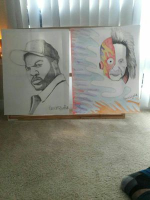 A combination artwork of ice cube and einstein