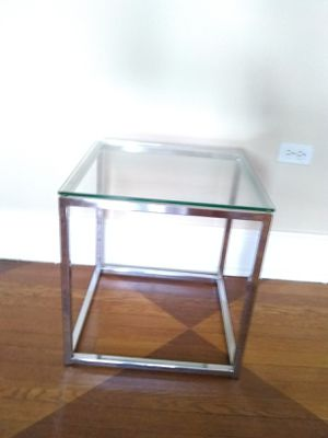Glass and metal side table by CB2