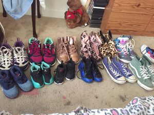 Kid Shoes size 8c/11c Little Girl Clothes sizes 12-18 months up to 2t 3t 4t Still have tags on most of them adult Shoes size 8.5/9 3 bags of Clothes