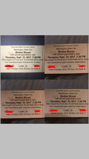 4 Modest Mouse tickets for 9/21 at Puyallup Fair