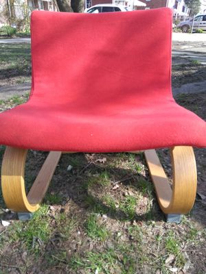 """Red n tan chair 26 wide seat n 30"""" height. This chair also rocks."""