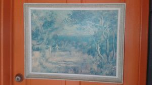 Vintage Renoir Lithograph Art Print on Hardboard 27 x 21