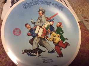 "Norman Rockwell ""Santa's Helper"" Christmas Plate 1991 #19841B"