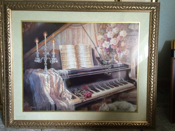 Framed art sleeping kitty by piano furniture in for Furniture federal way