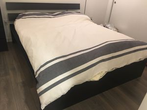 Supper comfortable IKEA queen bed and mattress. Moving sale.
