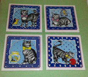Hand Painted Ceramic CAT ART Wall Plaques