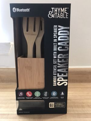 Brand new Speaker Caddy By Thyme & Table 6PC Bamboo Utensils w Built-in Bluetooth Speaker