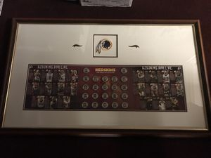Framed 2006 Washington Redskins Coin Medallion Set w/ Coach Gibbs and his Stars! Beautifully Mounted in White Matting w/ Redskins Embroidered Patch L