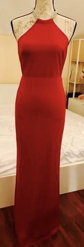 A.B.S. by Allen Schwartz RED Jeweled Neck Cape GOWN DRESS SZ Small **$490 MSRP