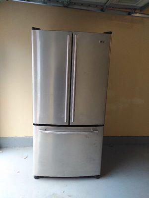 LG stainless fridge, steel French door bottom freezer