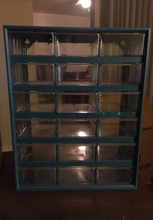 Vintage *** AKRO-MILS *** Metal 18-Drawer Hardware Cabinet Organizer Storage USA