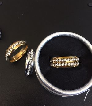 Mens bands ... sale polished steel with cz stones