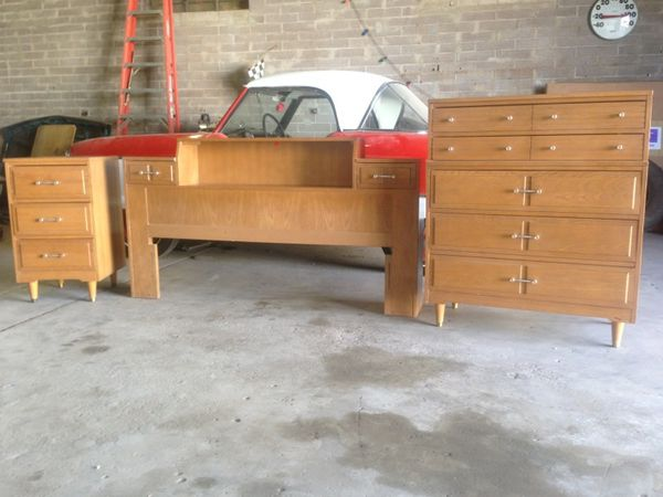 Mid century modern 3 piece bedroom set by l a period for Mid modern period