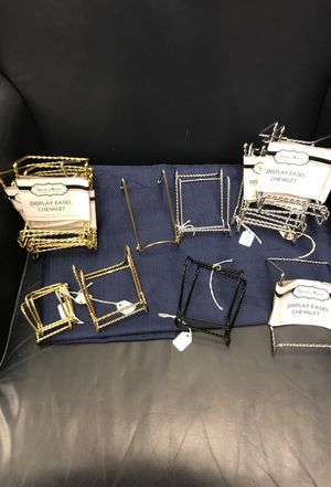 "Lot of 26 Miniature Display Easels! Assorted Colors, Gold, Silver and Black, perfect for little items! Bases range from 1 1/2"" Wide to 3"" Wide and 2"""
