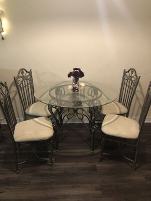 Glass Dining Table And 4 Chairs