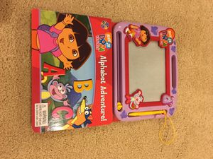 Dora Alphabet Adventure book and magnetic drawing pad