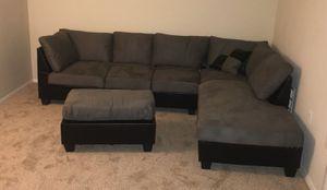 Brand New Grey Microfiber Sectional Sofa + Ottoman