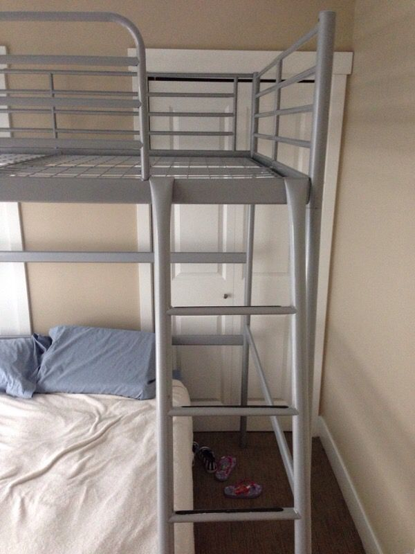 ikea full size loft bed frame in silver furniture in. Black Bedroom Furniture Sets. Home Design Ideas