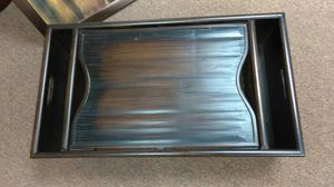 Hand scrubbed wood tray.