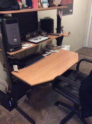 "IKEA computer desk and Dell Dimensions 2400 computer with 22"" Dell monitor"