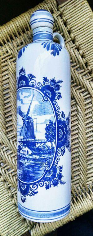 Holland Blauw Delft Ceramic Jug with Cork Stopper