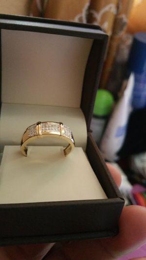 14k Diamond plated men ring.