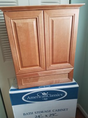Bath Storage Cabinet 24 x 29 Sandalwood made by American Classics RSI New in box