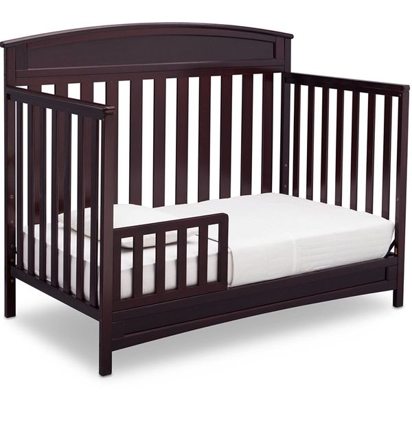 Delta Children Crib 1 In 4 Coffee Espresso Color Hardwood New Box Never Used Baby Kids San Diego CA