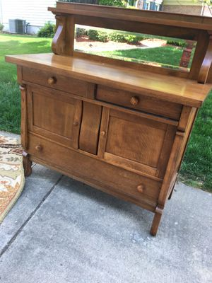 Antique buffet/sideboard with beveled glass mirror