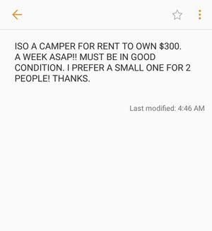 In search of a camper.