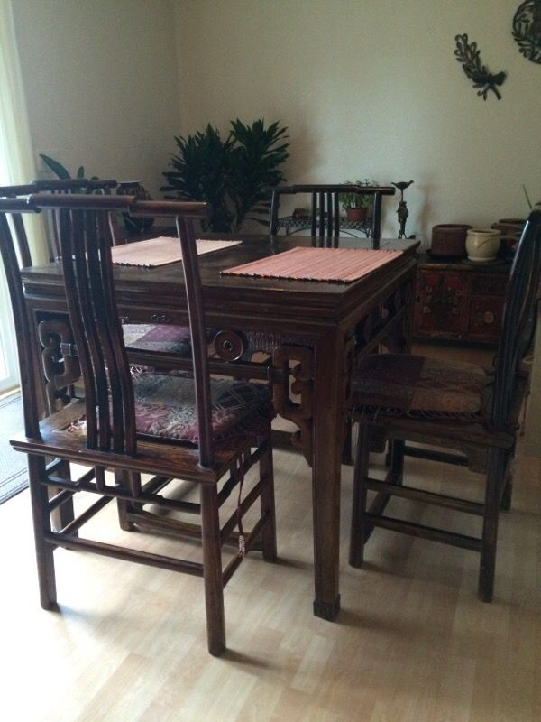 Antique chinese table and chairs furniture in seattle for Furniture movers seattle