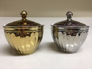 Gold & Silver 222 Fifth Parthenon Electroplated Ceramic Sugar Trinket Bowl w Lid